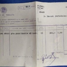 Documentos bancarios: BANCO DE VIZCAYA DOCUMENTO BANCARIO. Lote 195122935