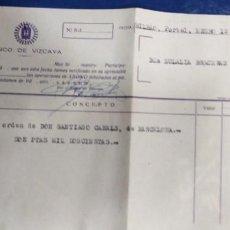 Documentos bancarios: BANCO DE VIZCAYA 1945 ABONO DOCUMENTO BANCARIO. Lote 195193121
