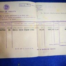 Documentos bancarios: BANCO DE VIZCAYA 1945 ABONO DOCUMENTO BANCARIO. Lote 195214980