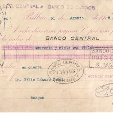 Documentos bancarios: DOCUMENTO BANCARIO. DE BILBAO A BURGOS. AÑO 1925. Lote 195236396