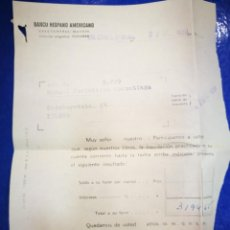Documentos bancarios: BANCO HISPANO AMERICANO CASA CENTRAL MADRID 1959 DOCUMENTO BANCARIO. Lote 195377411