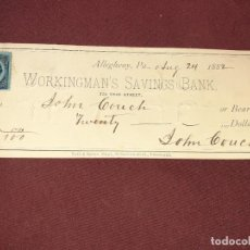 Documentos bancarios: WORKINGMAN´S SAVINGS BANK. ALLEGHENY 1882. LETRA DE 20 DOLLARS. ESTADOS UNIDOS, PENNSYLVANIA. Lote 195393640