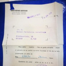 Documentos bancarios: BANCO HISPANO AMERICANO 1959 EXTRACTO DE CUENTA DOCUMENTO BANCARIO. Lote 195408471