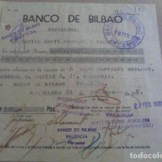 Documentos bancarios: BANCO DE BILBAO. SUC. VALENCIA. 1937. GUERRA CIVIL. RECIBO. CONTROL OBRERO E INTERVENCIÓN. TAMPONES. Lote 195444065
