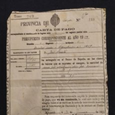 Documentos bancarios: CARTA DE PAGO 1927. LERIDA. Lote 195494545