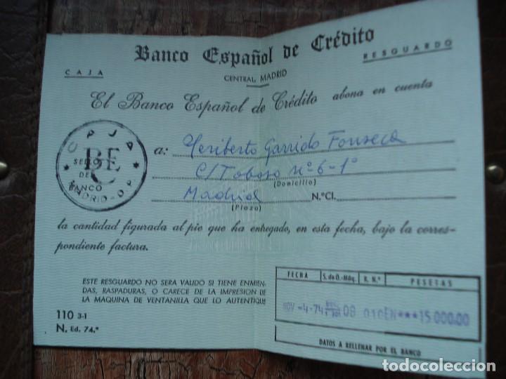 RESGUARDO INGRESO BANCO ESPAÑOL DE CREDITO 1974 (Coleccionismo - Documentos - Documentos Bancarios)