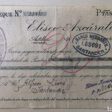 Documentos bancarios: CHEQUE COMERCIAL - ULTRAMARINOS COLONIALES ELÍSEO AZCÁRATE - SANTANDER - BANCO MERCANTIL - AÑO 1920. Lote 196194947