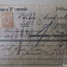Documentos bancarios: CHEQUE COMERCIAL - ULTRAMARINOS COLONIALES ELÍSEO AZCÁRATE - SANTANDER - BANCO MERCANTIL - AÑO 1920. Lote 196195233