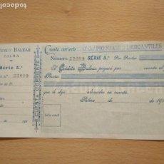 Documentos bancarios: CHEQUE CRÉDITO BALEAR. PALMA DE MALLORCA. BALEARES. SES ILLES. TALÓN. Lote 196926425