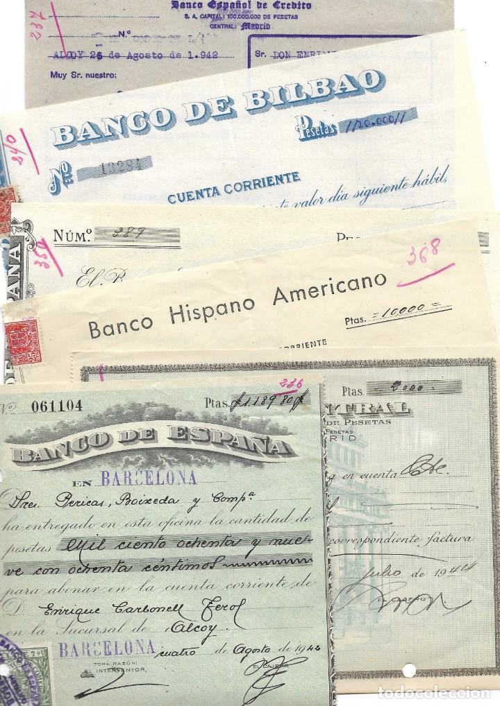 ALCOY (ALICANTE) LOTE 26 DOCUMENTOS BANCARIOS DE 5 BANCOS AÑOS 1939, 1942-43-44 BILBAO, CENTRAL,... (Coleccionismo - Documentos - Documentos Bancarios)