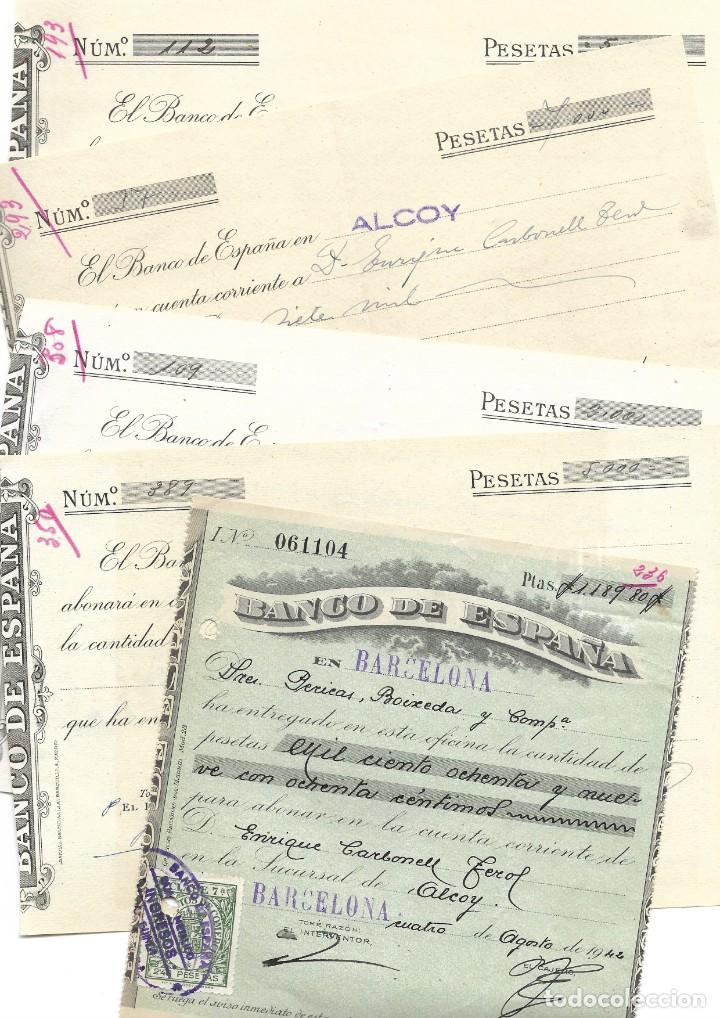 Documentos bancarios: ALCOY (ALICANTE) LOTE 26 DOCUMENTOS BANCARIOS DE 5 BANCOS AÑOS 1939, 1942-43-44 BILBAO, CENTRAL,... - Foto 2 - 196928616