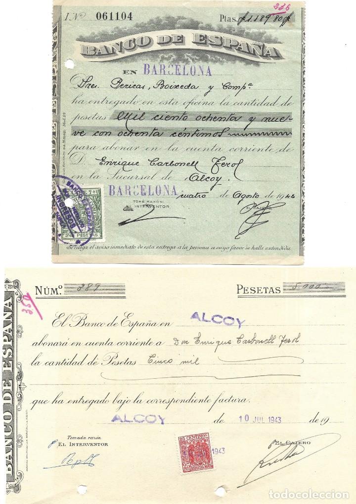 Documentos bancarios: ALCOY (ALICANTE) LOTE 26 DOCUMENTOS BANCARIOS DE 5 BANCOS AÑOS 1939, 1942-43-44 BILBAO, CENTRAL,... - Foto 3 - 196928616