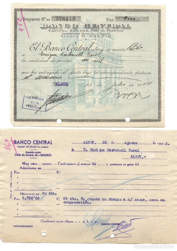 Documentos bancarios: ALCOY (ALICANTE) LOTE 26 DOCUMENTOS BANCARIOS DE 5 BANCOS AÑOS 1939, 1942-43-44 BILBAO, CENTRAL,... - Foto 4 - 196928616