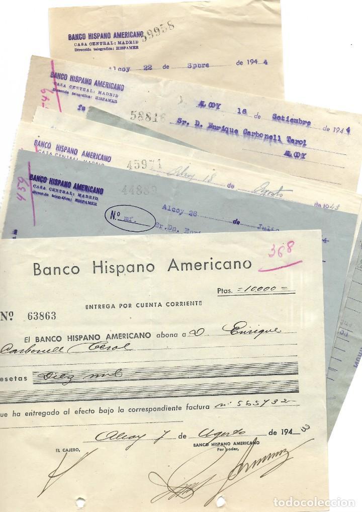 Documentos bancarios: ALCOY (ALICANTE) LOTE 26 DOCUMENTOS BANCARIOS DE 5 BANCOS AÑOS 1939, 1942-43-44 BILBAO, CENTRAL,... - Foto 5 - 196928616