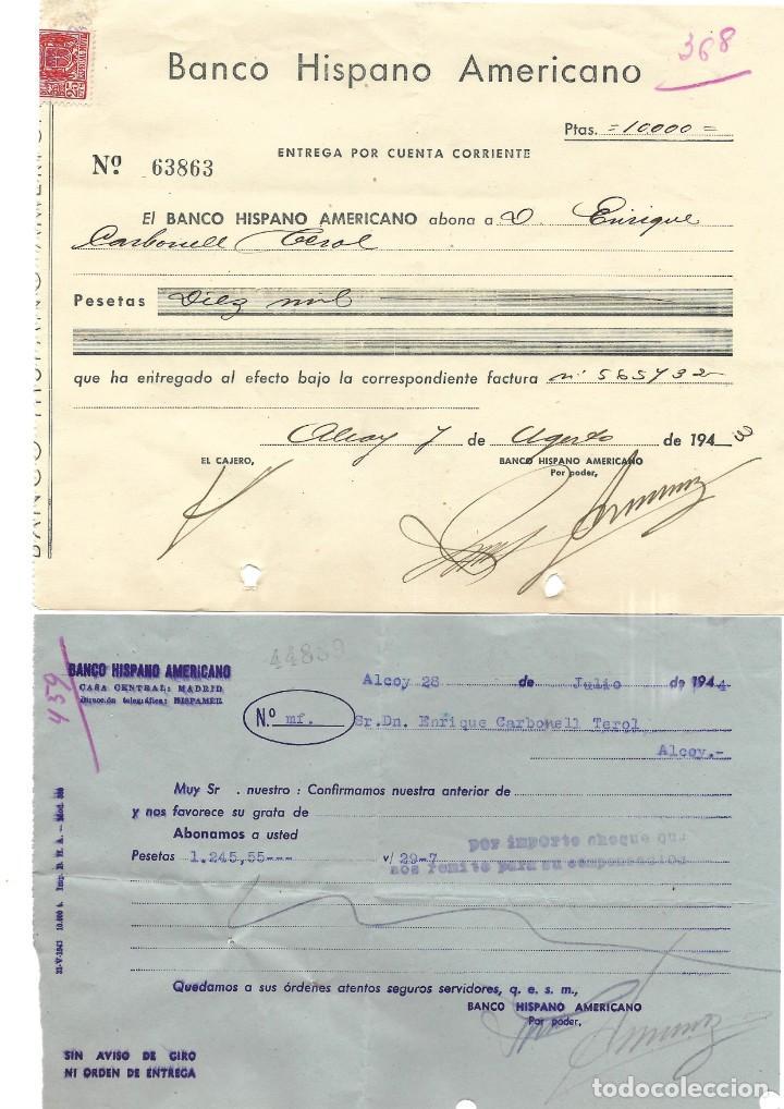 Documentos bancarios: ALCOY (ALICANTE) LOTE 26 DOCUMENTOS BANCARIOS DE 5 BANCOS AÑOS 1939, 1942-43-44 BILBAO, CENTRAL,... - Foto 6 - 196928616