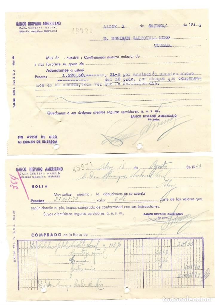 Documentos bancarios: ALCOY (ALICANTE) LOTE 26 DOCUMENTOS BANCARIOS DE 5 BANCOS AÑOS 1939, 1942-43-44 BILBAO, CENTRAL,... - Foto 7 - 196928616