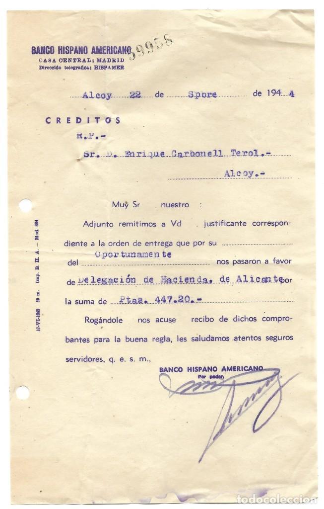 Documentos bancarios: ALCOY (ALICANTE) LOTE 26 DOCUMENTOS BANCARIOS DE 5 BANCOS AÑOS 1939, 1942-43-44 BILBAO, CENTRAL,... - Foto 8 - 196928616