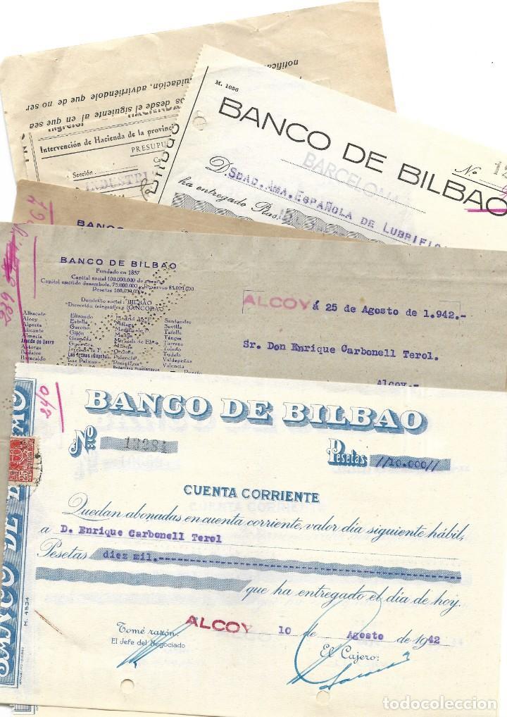 Documentos bancarios: ALCOY (ALICANTE) LOTE 26 DOCUMENTOS BANCARIOS DE 5 BANCOS AÑOS 1939, 1942-43-44 BILBAO, CENTRAL,... - Foto 9 - 196928616