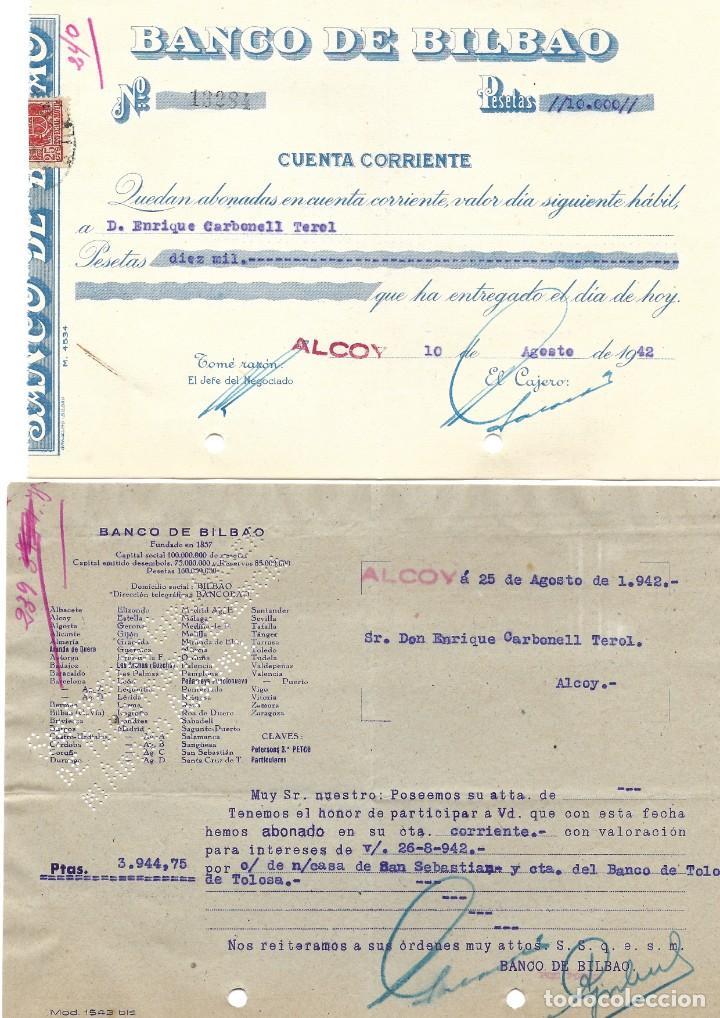 Documentos bancarios: ALCOY (ALICANTE) LOTE 26 DOCUMENTOS BANCARIOS DE 5 BANCOS AÑOS 1939, 1942-43-44 BILBAO, CENTRAL,... - Foto 10 - 196928616