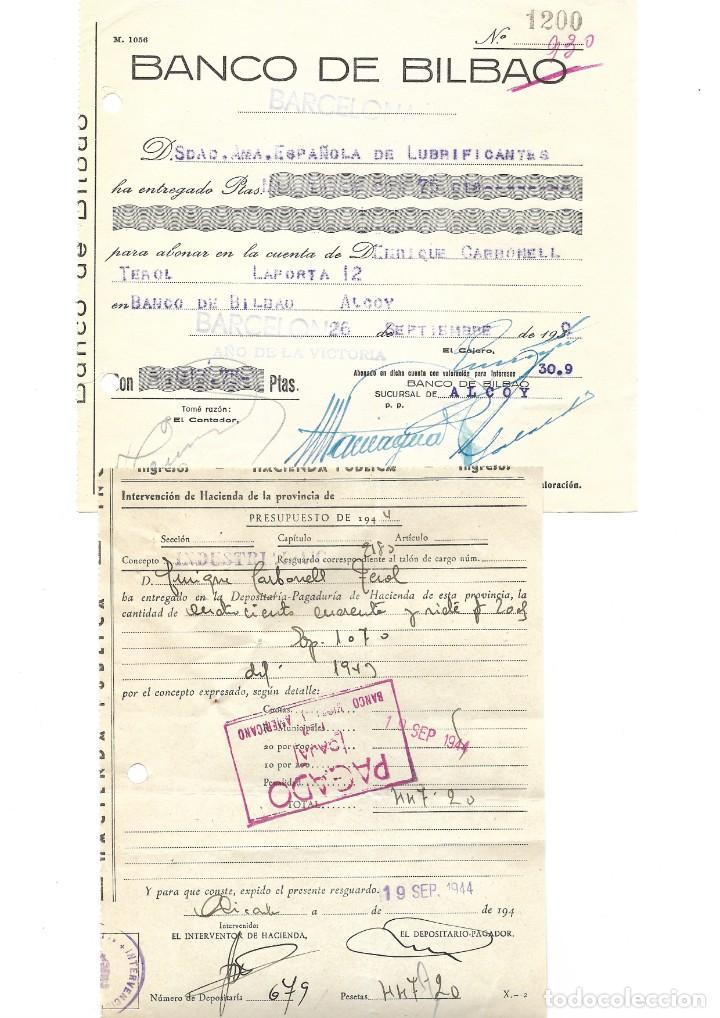 Documentos bancarios: ALCOY (ALICANTE) LOTE 26 DOCUMENTOS BANCARIOS DE 5 BANCOS AÑOS 1939, 1942-43-44 BILBAO, CENTRAL,... - Foto 11 - 196928616