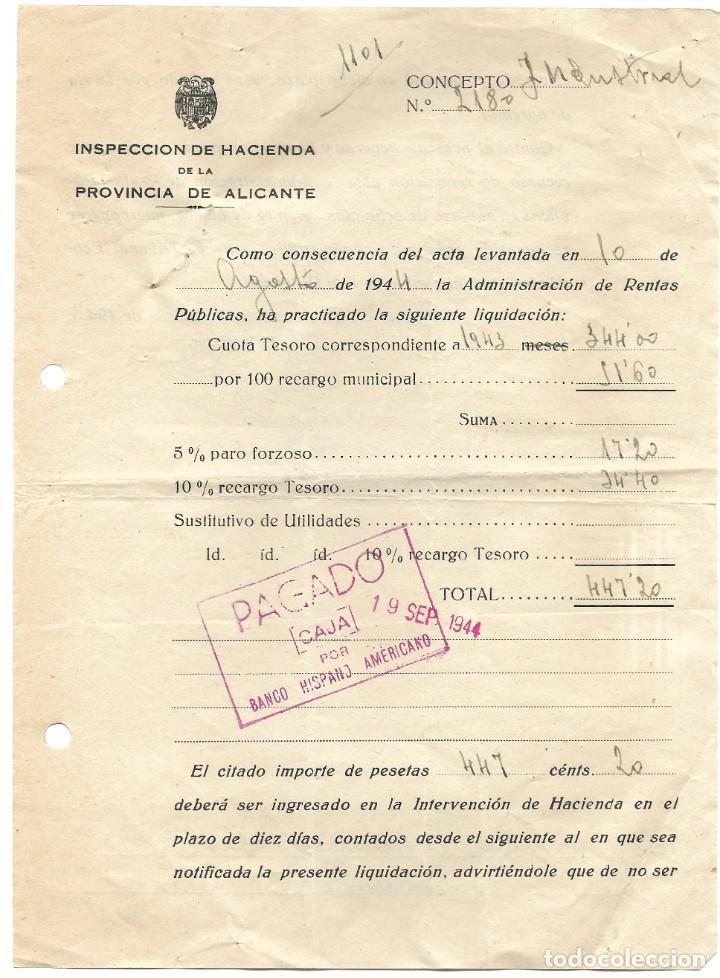 Documentos bancarios: ALCOY (ALICANTE) LOTE 26 DOCUMENTOS BANCARIOS DE 5 BANCOS AÑOS 1939, 1942-43-44 BILBAO, CENTRAL,... - Foto 12 - 196928616