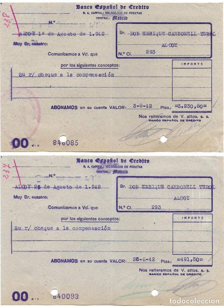 Documentos bancarios: ALCOY (ALICANTE) LOTE 26 DOCUMENTOS BANCARIOS DE 5 BANCOS AÑOS 1939, 1942-43-44 BILBAO, CENTRAL,... - Foto 13 - 196928616