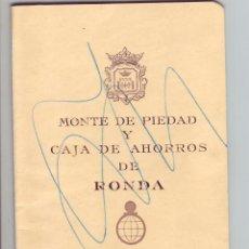 Documentos bancarios: MONTE DE PIEDAD Y CAJA DE AHORROS DE RONDA - CARTILLA BANCARIA AÑO 1974. Lote 197205967