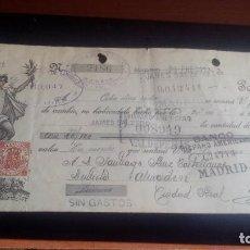 Documentos bancarios: LETRA CAMBIO - 28 DE ENERO DE 1923 - VARIOS SELLOS Y TAMPONES DISTINTOS. Lote 199734472