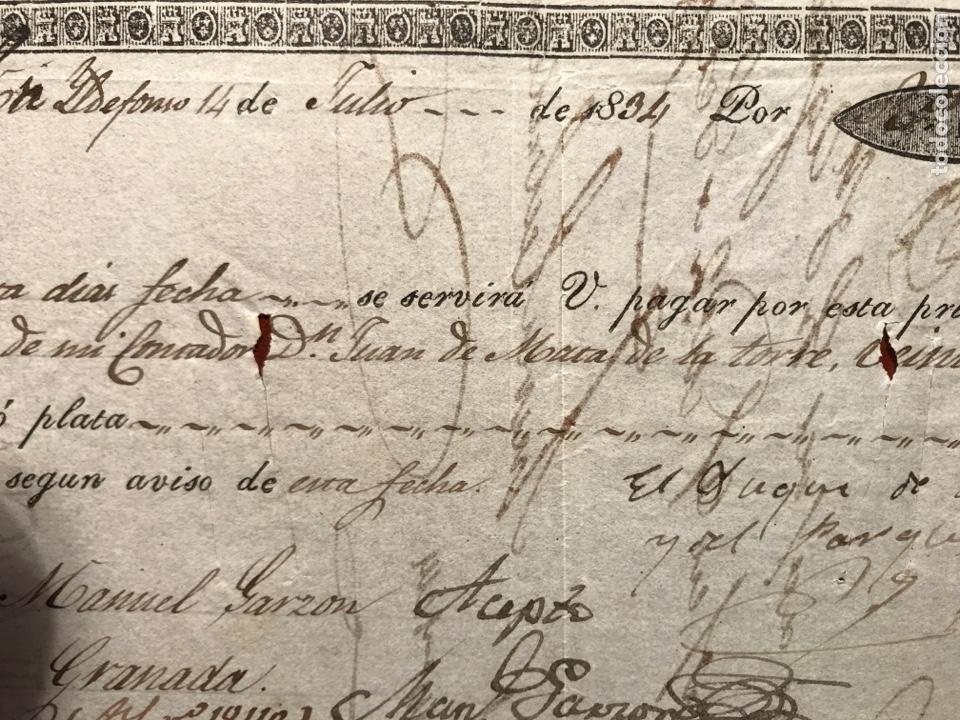 Documentos bancarios: Letras. San Ildefonso. Granada. 1834. Isabel II - Foto 2 - 199816761