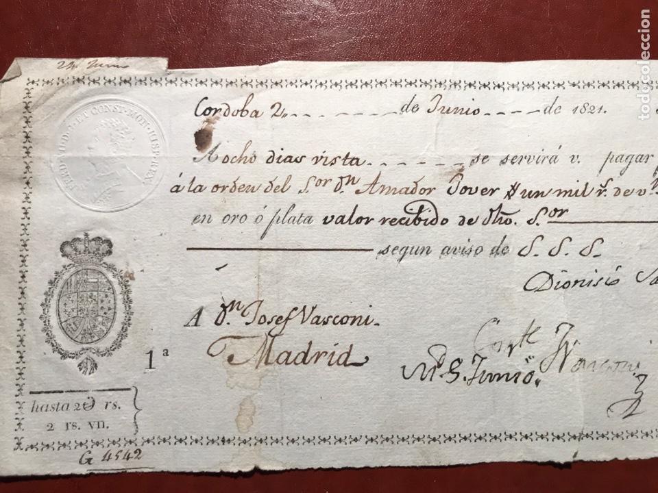 Documentos bancarios: Letra. Cordoba. Madrid. Fernando VII. 1821 - Foto 2 - 199816961