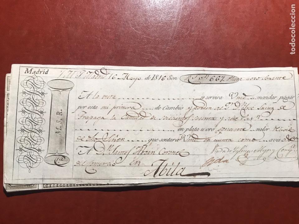 LETRA. MADRID.ÁVILA.1816 (Coleccionismo - Documentos - Documentos Bancarios)
