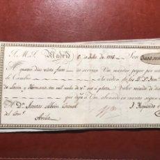 Documentos bancarios: LETRA. MADRID. ÁVILA. 1816. Lote 199960060
