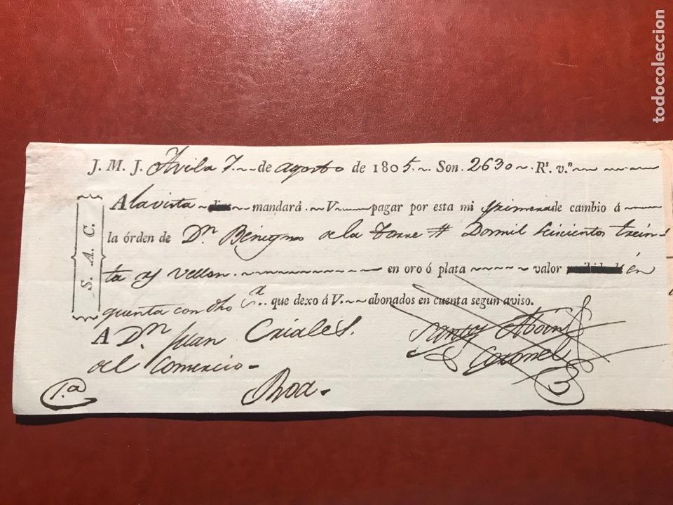 LETRA. ÁVILA. 1805 (Coleccionismo - Documentos - Documentos Bancarios)