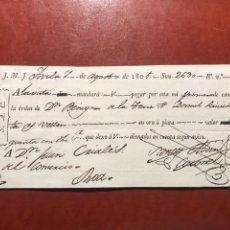 Documentos bancarios: LETRA CAMBIO.ÁVILA. 1805. Lote 199960258