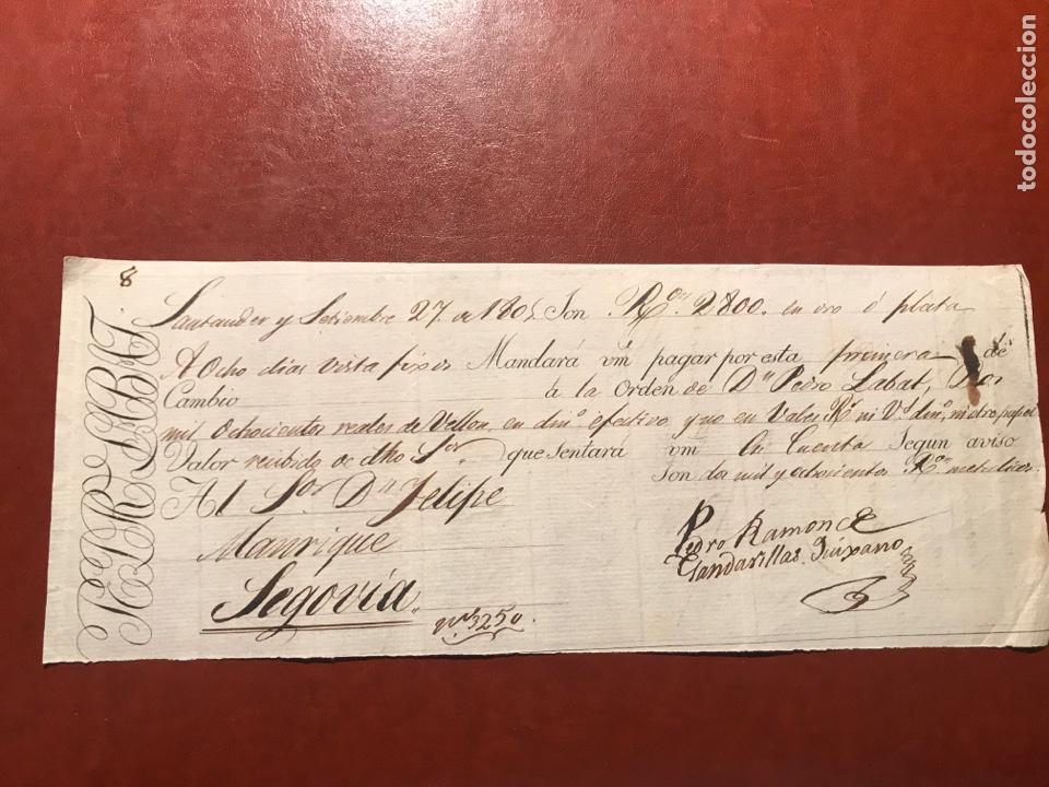 LETRA. SANTANDER. SEGOVIA. 1805 (Coleccionismo - Documentos - Documentos Bancarios)