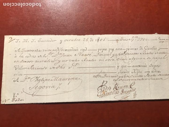 SANTANDER. LETRA. SEGOVIA. 1805 (Coleccionismo - Documentos - Documentos Bancarios)