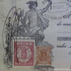 Documentos bancarios: RECIBO PAGARÉ BANCO TARRASA.FERRAZ AMORIM.R. PUJOL SAURI BARREDA.ANTONIO SERRA.1920.BERGACON SELLOS.. Lote 200868456