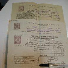 Documentos bancarios: POLIZA OPERACIONES AL CONTADO AGUAS POTABLES Y BANCO DE VALENCIA 1927 Y 1935 (LOTE DE 3). Lote 201909008