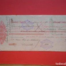 Documents bancaires: LETRA DE CAMBIO IMPRESIÓN PRIVADA AÑO 1887 TUDELA NAVARRA SOBRINOS DEL CASTILLO. Lote 202335492