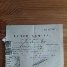 Documentos bancarios: RECIBÍ BANCO CENTRAL CAJAS DE ALQUILER. Lote 202710106