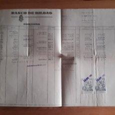 Documentos bancarios: HOJA BANCO DE BILBAO DEBE HABER SALDOS AGENCIA BAILEN CON SUS SELLOS. Lote 202710793