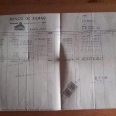 Documentos bancarios: HOJA BANCO DE BILBAO DEBE HABER SALDOS AGENCIA BAILEN CON SUS SELLOS. Lote 202710940