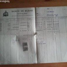 Documentos bancarios: HOJA BANCO DE BILBAO DEBE HABER SALDOS AGENCIA BAILEN CON SUS SELLOS. Lote 202711865