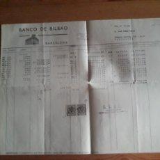 Documentos bancarios: HOJA BANCO DE BILBAO DEBE HABER SALDOS AGENCIA BAILEN CON SUS SELLOS. Lote 202711967