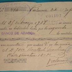 Documentos bancarios: LETRA DE CAMBIO ANTONIO COTANDA, FABRICA DE MUEBLES, VALENCIA 1937. Lote 204713723