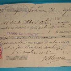 Documentos bancarios: LETRA DE CAMBIO ANTONIO COTANDA, FABRICA DE MUEBLES, VALENCIA 1937. Lote 204714203