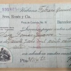 Documentos bancarios: CHEQUE, N.GELATS & CA. HABANA, CUBA. AÑO 1929. Lote 205439936