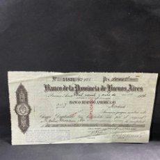 Documents bancaires: PAGARÉ DEL BANCO DE LA PROVINCIA DE BUENOS AIRES. ARGENTINA, 1926. VER. Lote 205767831