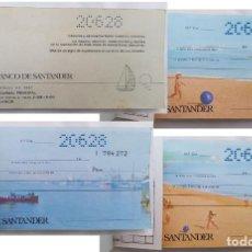 Documentos bancarios: TALONARIO BANCO DE SANTANDER. VALENCIA. CON 10 CHEQUES. IMAGEN DE LA BAHÍA. 1971. Lote 206992391