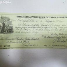 Documentos bancarios: LETRA DE CAMBIO. THE MERCANTILE BANK OF INDIA. SINGAPORE. 1926. Lote 232039210